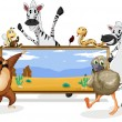Various animals and board — Stock Vector #12372174