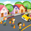 Royalty-Free Stock Vector Image: Kids on road