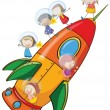 Kids on rocket — Stock Vector