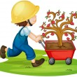 Stock Vector: A boy carrying tree