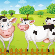 Stock Vector: Cows grazing in farm
