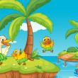 Stock Vector: Duck and ducklings on island