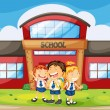 Kids infront of school — Stock Vector
