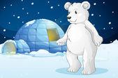 Isbjörn och igloo — Stockvektor