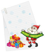Santaclause, gift boxes and paper note — Stock Vector