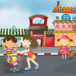 Kids on road — Imagen vectorial