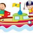 Kids playing on ship — Stock Vector