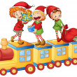 Kids playing on train — Stock Vector #12385432