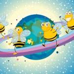 Постер, плакат: Honey bees on saturn
