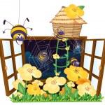 Spider, bird house and window — Stock Vector #12385976