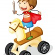 Stock Vector: Boy on toy horse