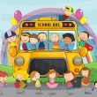Kids and school bus — Stock Vector