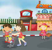 Kids on road — Vector de stock