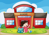 Girl infront of school — Stock Vector