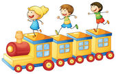Kids playing on train — Stock Vector