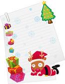 Reindeer and paper note — Stock Vector