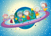 Kids on planet — Stock Vector