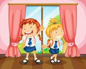 Girls near window — Stock Vector
