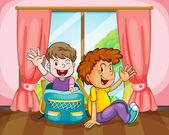 Boys near window — Stock Vector