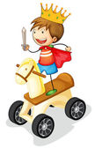 Boy on toy horse — Stock Vector
