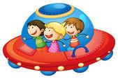 Kids in spaceship — Stock Vector