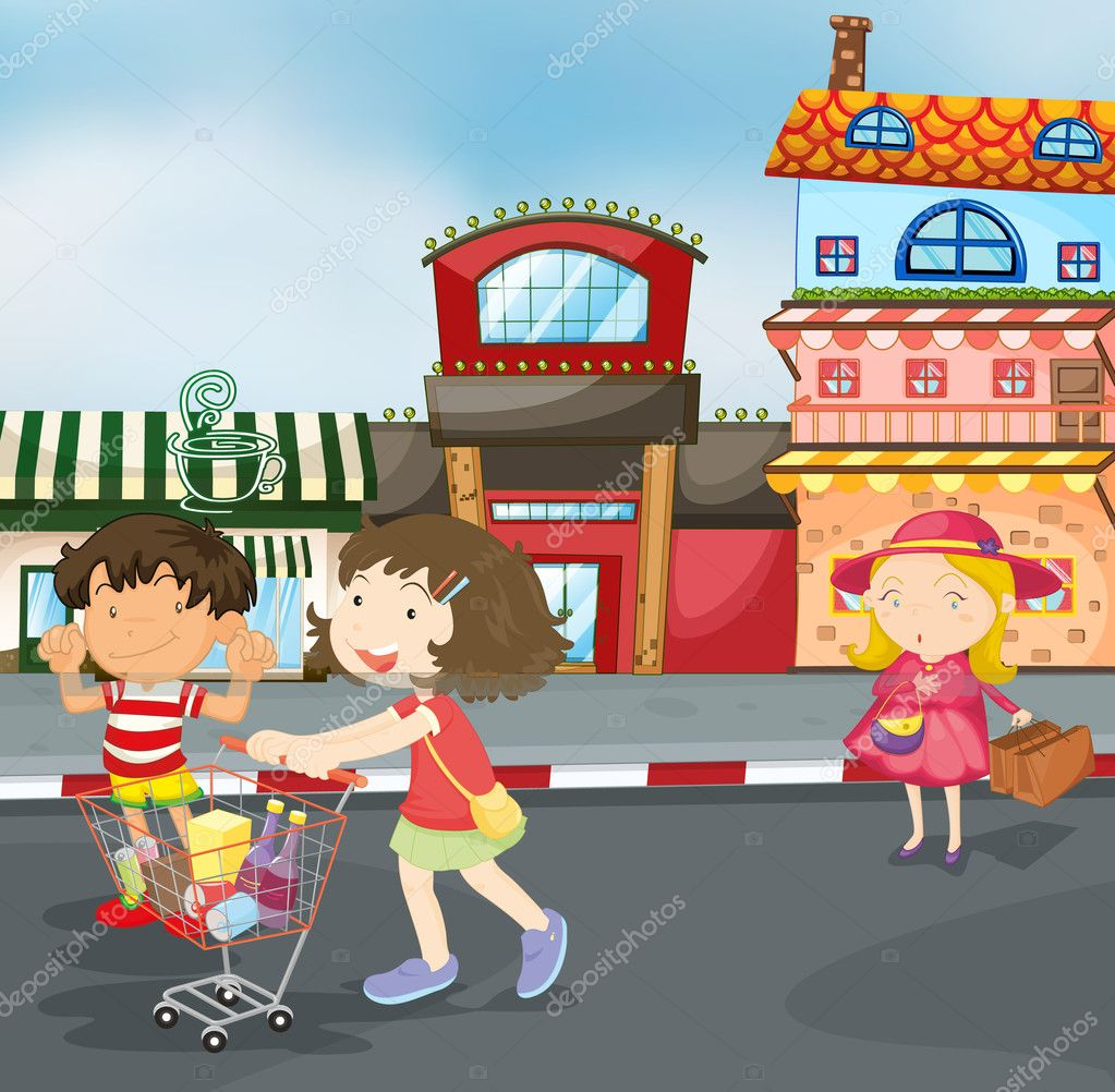 Illustration of kids on road for outing — Stock Vector #12385412