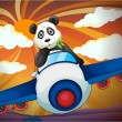 Panda flying in air plane — Stock Vector