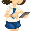 Girl with mobile — Stock Vector #12398062