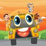 Various animals in school bus — Stock Vector #12398089