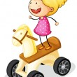 Stock Vector: Girl on toy horse