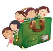 Kids in a bag — Stock Vector