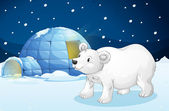 White bear and igloo — Stock Vector