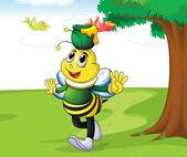 Honey bee carrying honey — Stock Vector