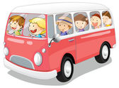 Kids in a bus — Stock Vector