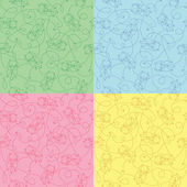 Set of seamless funny pattern — Stock Vector