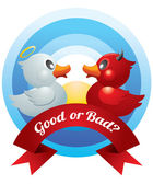 Good and Bad Ducks Duel — Stock Vector