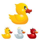 Set of Funny Rubber Ducks — Stock Vector