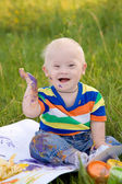 Happy baby with Down syndrome — Stock Photo