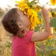 Baby smelling a big sunflower — Foto de Stock