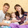 Happy smiling young big family, five — Stock Photo #11657430