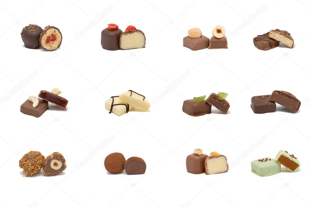 Set of various hand-made candies from dark, white and milk chocolate with different fillings. — Stock Photo #11785577