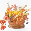 Autumnal basket over white — Stock Photo