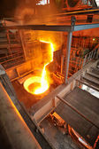 Transportation molten hot steel — Stock Photo
