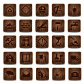 Wooden icons — Stock Vector