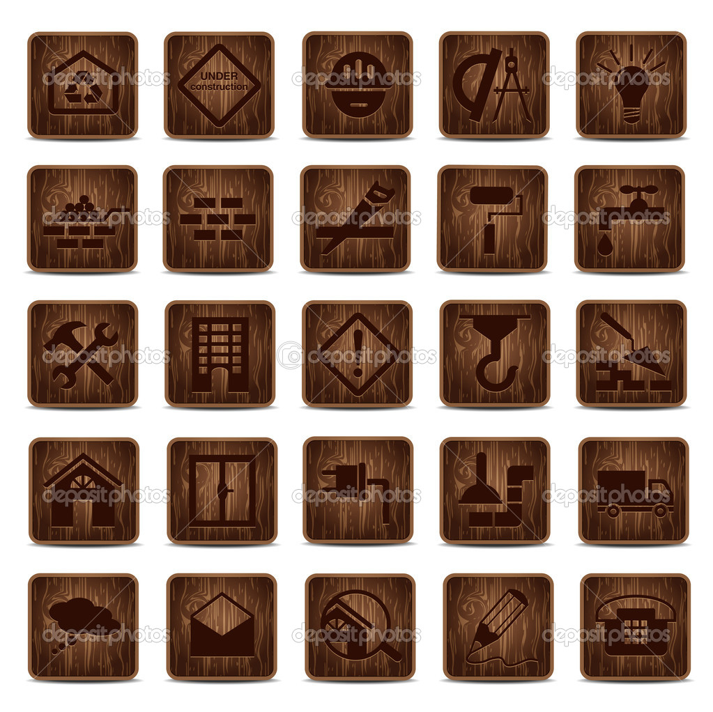Construction icons set from wood — Stock Vector #11608836