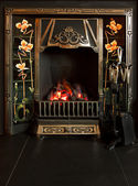 Tiled fireplace — Stock Photo