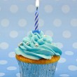 Baby blue first birthday cupcake — Stock Photo #12312994