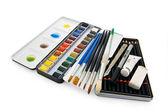 Akvarel barvy zařízení — Stock fotografie