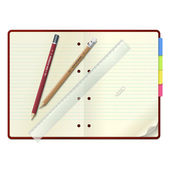An open notebook with pencils and ruler — Stock Vector