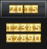 Number set from 1 to 9, digital clock, gold — Stock Vector